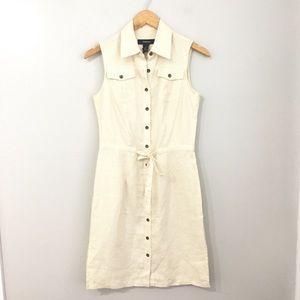 Express Cream Linen Button Down Dress Size 3/4